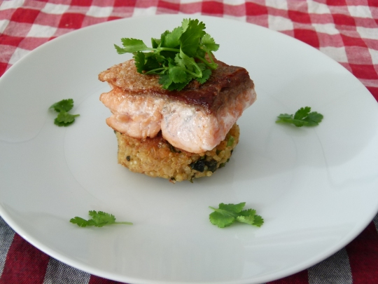 MissFoodFairy's crispy skin salmon with quinoa and kale patties