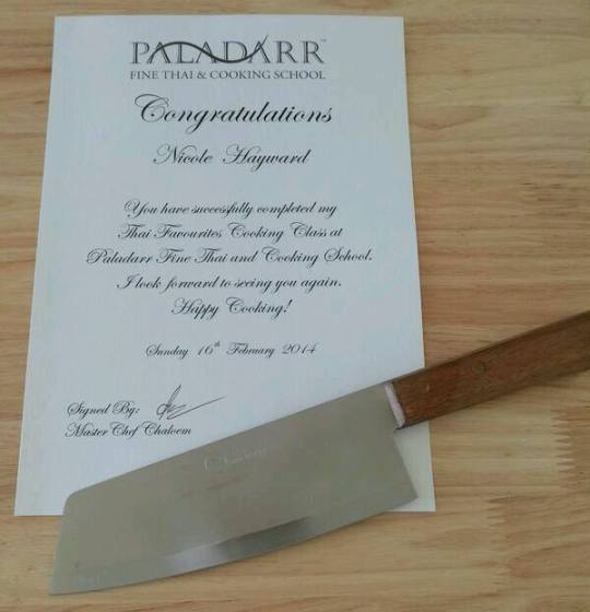 MissFoodFairy's Thai cooking class certificate & awesome knife