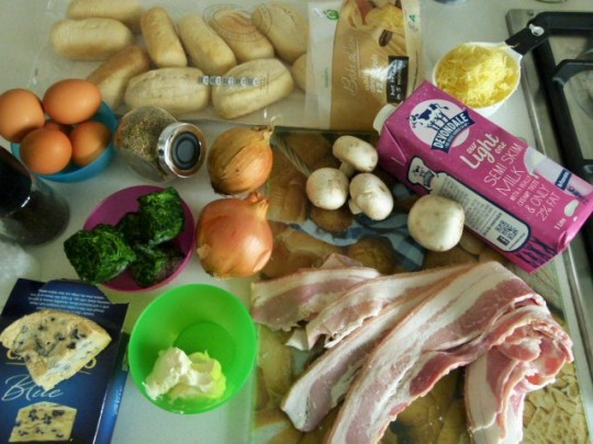 MissFoodFairy's savoury bread pudding ingredients