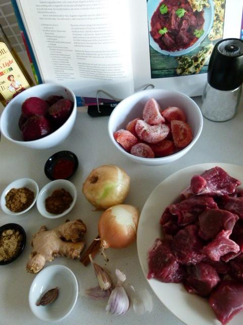MissFoodFairy's lamb& beetroot curyy ingredients