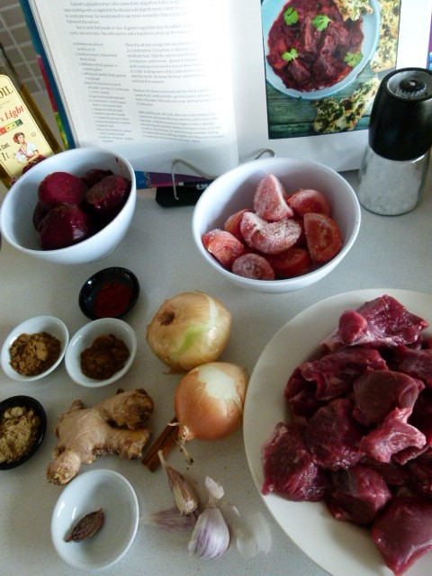 MissFoodFairy's lamb& beetroot curyy ingredients