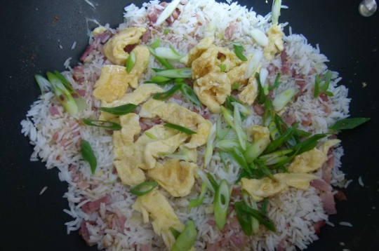 MissFoodFairy's adding spring onions & egg fried rice