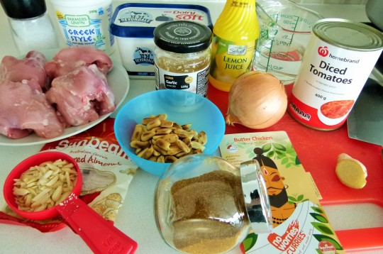 MissFoodFairy's butter chicken ingredients