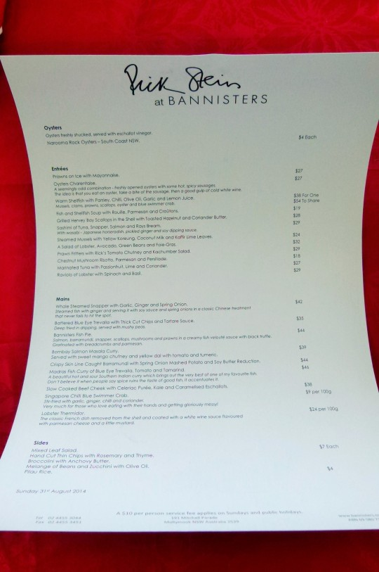 MissFoodFairy's Bannisters Evening with Rick Stein menu
