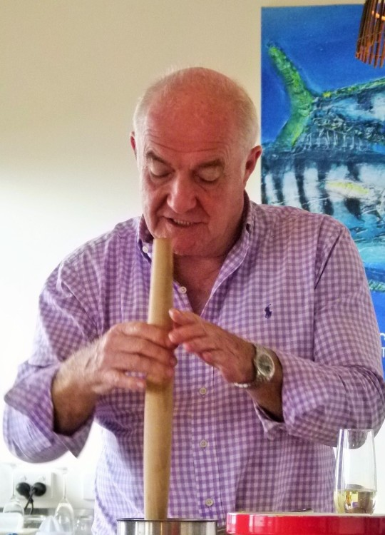 MissFoodFairy's Masterclass with Rick Stein grinding spices with rolling pin