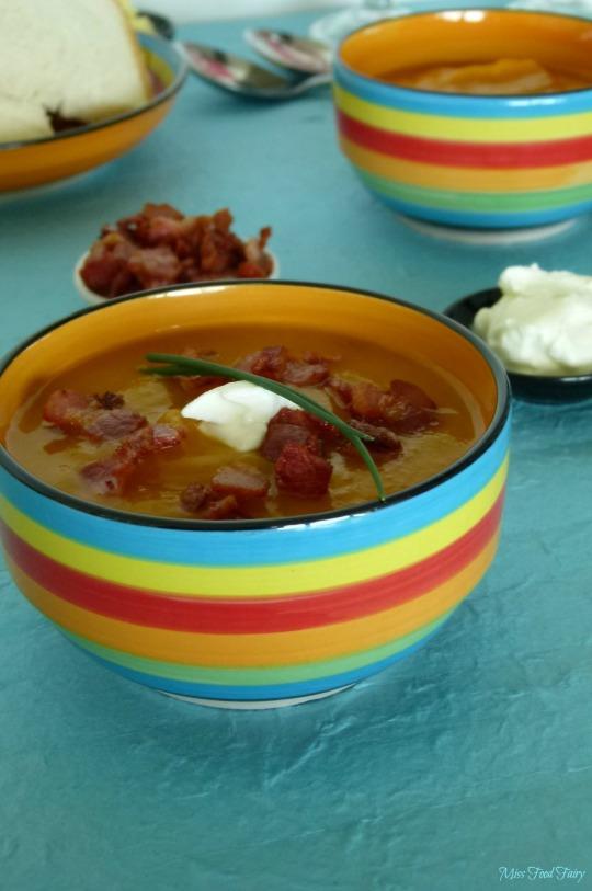 @MissFoodFairy roast pumpkin & bacon crouton soup #1