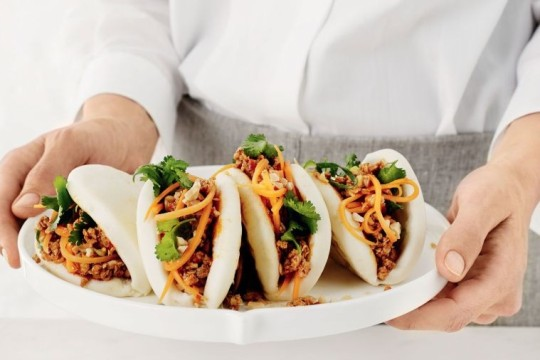 delicious.com.au chicken bao steamed buns recipe