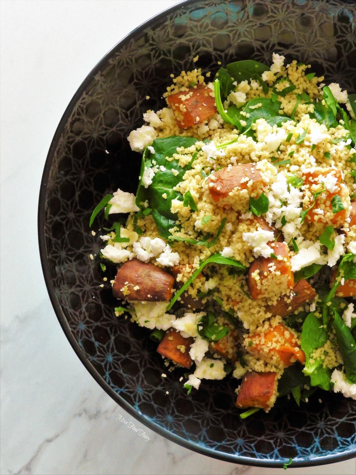 Roasted sweet potato couscous salad with crispy skin salmon #1 MisFoodFairy
