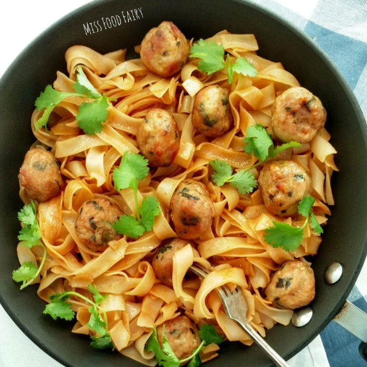 Asian chicken meatball noodles   Miss Food Fairy